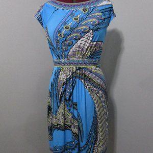 New York & Company Blue Print Dress Size Medium